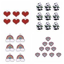 10Pcs Heart Rainbow Cute Panda Charms Pendants DIY Craft Jewelry Making Findings