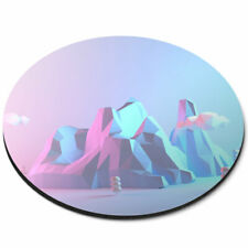 Round Mouse Mat - 3D Mountains Forest Clouds Ski Office Gift #21913