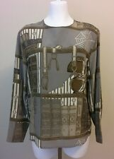 Womens Paul Stanley 100% Silk Taupe Library Books Pullover Blouse Top Shirt Size