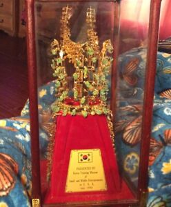 24 K GOLD PLATED CHONMA- CH'ONG CROWN WITH JADE STONES IN CASE