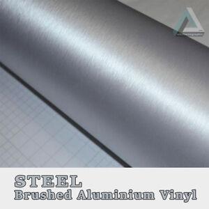 30x152cm Silver Steel Brushed Aluminium Vinyl Vehicle Wrap Bubble Free 3M Glue