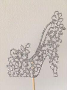 Silver Glitter Shoe Cake Topper