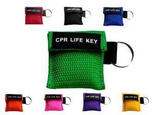 CPR Life Key / Resusitation Face Shield in Key Ring Pouch Ambulance 999