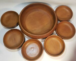 "Baribocraft Canada Wood 11"" Salad Bowl + 6 Bowls Wheat Pattern Vintage MINT"