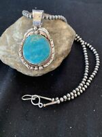 Stunning Sterling Silver Navajo Pearls Kingman Turquoise Necklace Pendant Set807