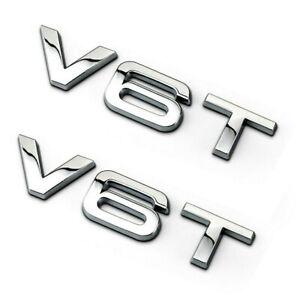 2x Audi V6T Chrome Badge Pair Emblem Decal Logo For  Wing Side Fender Rear Boot