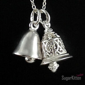 Sterling Silver 3D Jingle Bell Filigree Hollow & Shiny Solid Pendant Charm