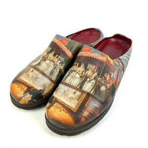 Icon Shoes 7.5 Wearable Art Leather Painting Made In USA Slip On Mules