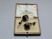 Beautiful Art Deco 20s 30s French Jet Clear Glass Dangle Earrings Rare Elegant