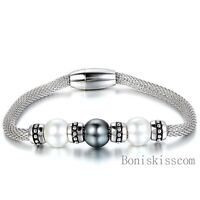 Women's Stainless Steel Mesh Chain Bracelet Magnetic Clasp w Manmade Pearl Charm