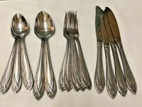 Hampton Lace Frosted Flatware Lot 14 Pieces Spoons, Forks, Knives