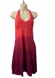 Women's Sz Small ATHLETA Hali Halter Dress W/Shelf Bra - Watermelon 553296