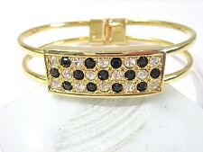 HINGED CLAMPER FASHION BRACELET SPARKLY BLACK AND CLEAR CRYSTAL FASHION FANCY