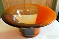 Beautiful Art Glass Purple Orange & Clear Glass Hand Blown Bowl    NO Box