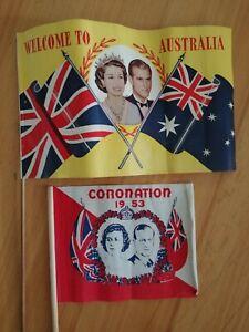 Queen Elizabeth Prince Philip Flag Coronation 1953 Welcome to Australia Tour