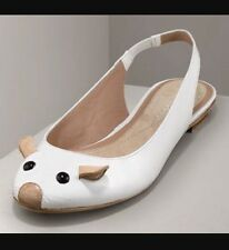 100% AUTHENTIC MARC BY MARC JACOBS WHITE PATENT MOUSE SLINGBACK FLATS SIZE 38.5