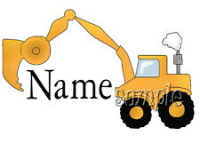 IRON ON TRANSFER PERSONALISED TONKA DIGGER BOYS TRUCK 14x9cm (any name u want)