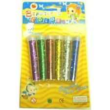 6 Assorted Coloured Sparkly Glitter Shaker Tubes Pot Arts Craft Card Making Wand