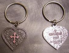 Pewter Key Ring Western Grace Heart Pink Cross NEW