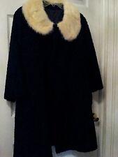 Vintage Coat* Persian Curly Lamb*Women*Mink Collar* Medium*Black*Cream*Preowned*