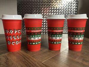 LOT OF 4 Starbucks Holiday Reusable Cup Grande 16 oz. Red Christmas Tumbler