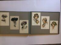 Victorian Antique Album Artist Signed 124 Postcards Woman Animals Kids  L2