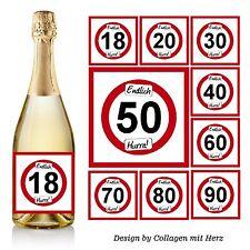 Aufkleber Sektflasche Bierflasche Geburtstag 18 20 30 40 50 60 70 Geschenk D83