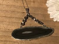 Recycled Gemstone Jewelry, Contemorary Collection, Black Banded Agate Pendant