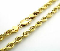 "Genuine 10K Yellow Gold 6mm Wide Italian Diamond Cut Rope Chain Necklace 20""-32"""