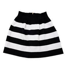 Damen Rock Minirock mit Falten Stiefelrock Streifen Motiv Schwarz Weiß Y8