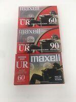 Lot Of 3 Maxell UR 60 Min Cassette Tapes NEW