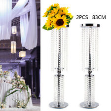 "2x 32""Tall Wedding Flower Vase Backdrop Centerpiece Crystal Pillar Candle Holder"