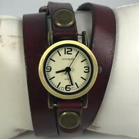 Concepts Womens PLN-RY4480 Beige Dial Brown Leather Band Quartz Analog Watch