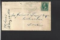 ATALISSA, IOWA COVER,1881, S.V. LAMPERT PM CL IN DIAL, MUSCATINE CO. 1856/OP.