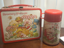 Vintage 1980 Strawberry Shortcake Metal Lunch Box with Thermos