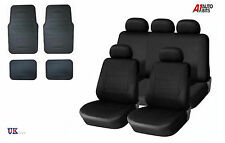 BLACK CAR SEAT COVERS & RUBBER CAR MATS SET FOR TOYOTA AVENSIS AURIS COROLA