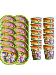 Girl cocomelon plates and cups party supplies, pink girl cocomelon decoration
