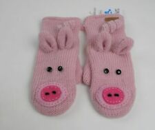 Knitwits DeLux Mittens New Pink Pig Piggy Wool Animal Gloves, Adult size, Unisex