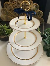 Cake Stand White and Gold Wedding Reception Bridal Shower 3 Tier Serving Tray