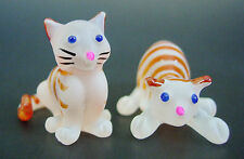 2 Tiny Glass CATS KITTENS Stripy Ginger & White Painted Glass Animal Ornaments