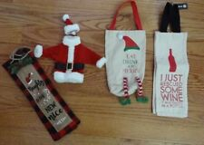 Euc 4 Different Wine Bottle Holder/ Bags - 3 Christmas & 1 Everyday - Very Cute