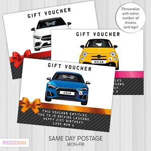 Personalised Driving Lessons Gift Certificate Voucher Birthday 17th 18th 21st