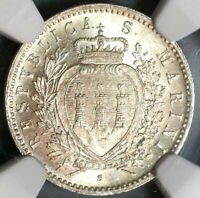 1898 NGC MS 64 San Marino 50 Centesimi Silver Mint State Coin 40K (19091302C)