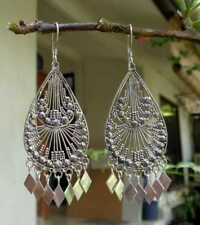 Long Dangle Earring Sterling Silver, 925 Balinese Traditional Design 38112