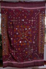 Banjara cloth Tapestry mirrors maroon wall hanging, textile fabric vintage