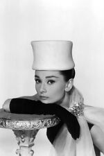 AUDREY HEPBURN 24X36 POSTER STUNNING POSE IN WHITE HAT GLOVED HAND ICONIC IMAGE