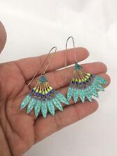 Beautiful   vintage Chinese silver Blue Green enamel Leaf wire earrings