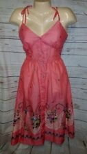 NEW VTG 80s You Babes II 2 Sun Dress Semi Sheer Pink Button Floral Tie Straps 13