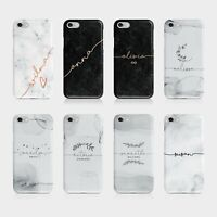 Personalised Initials Iphone Samsung Phone Case Marble Rose Gold Watercolour