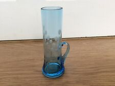 BLUE GLASS FLOWER ETCHED BUD VASE WITH HANDLE -11.5cm